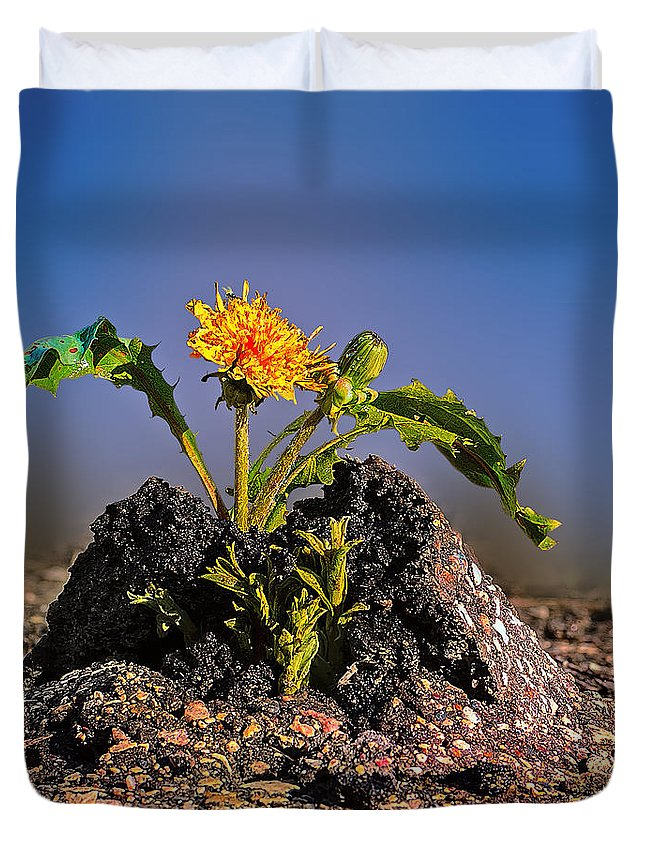 Flower Duvet Cover featuring the photograph I Will Live. by Viktor Birkus