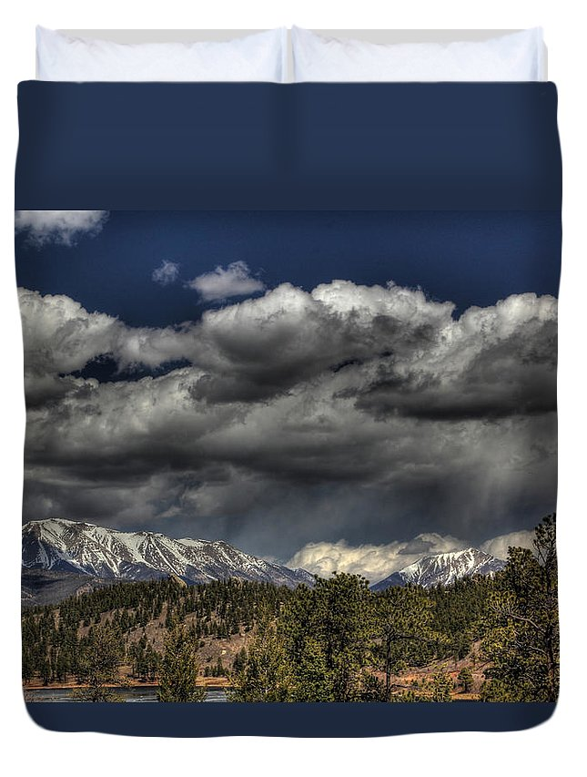 Rocky Duvet Cover featuring the photograph Thunder Mountains by Chance Chenoweth