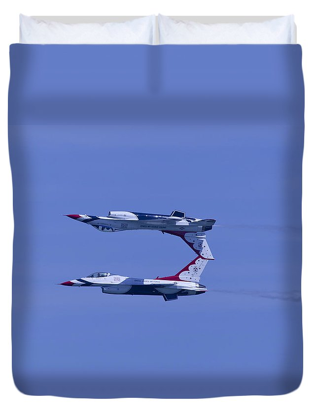 Thunderbirds Duvet Cover featuring the photograph Thunderbird Solos 5 Inverted Over 6 by Donna Corless