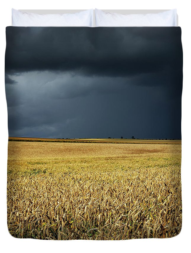 Scenics Duvet Cover featuring the photograph Thunderstorm Clouds Over Wheat Field by Avtg