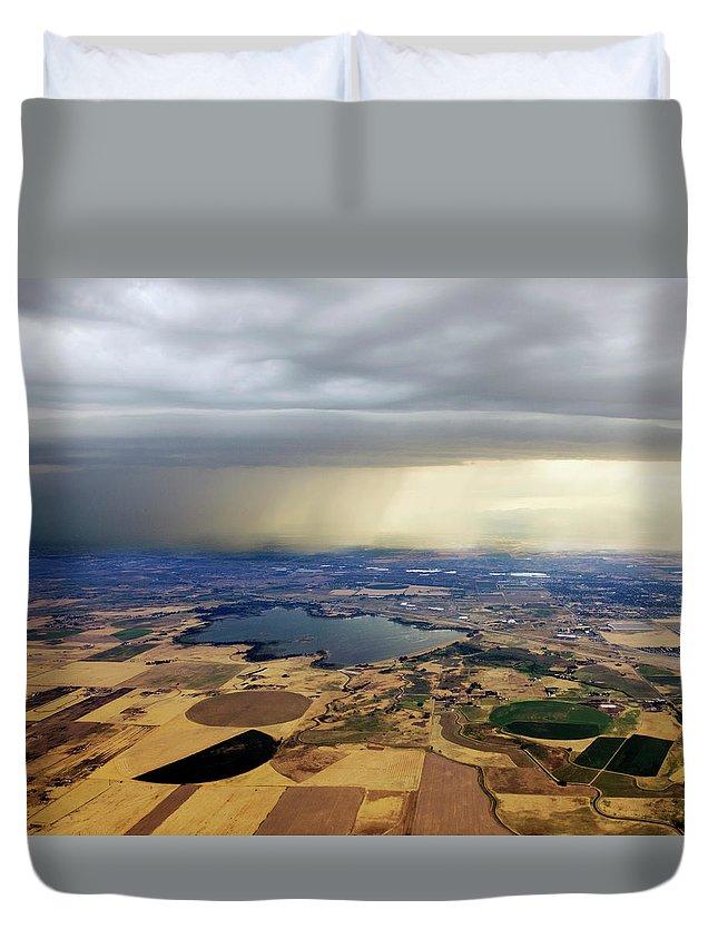 Tranquility Duvet Cover featuring the photograph Thunderstorm Over Denver, Colerado by Gail Shotlander