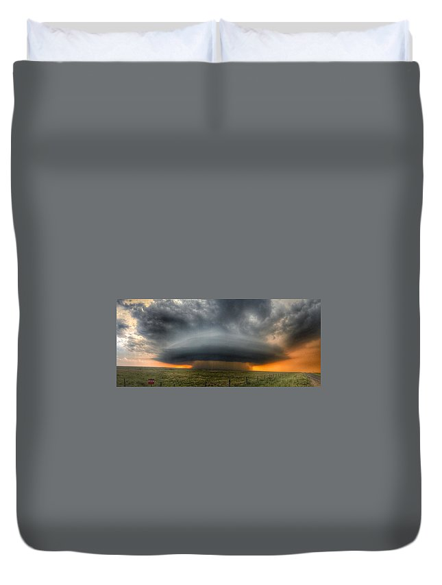 Problems Duvet Cover featuring the photograph Thunderstorm Over Grassy Field by Brian Harrison / Eyeem