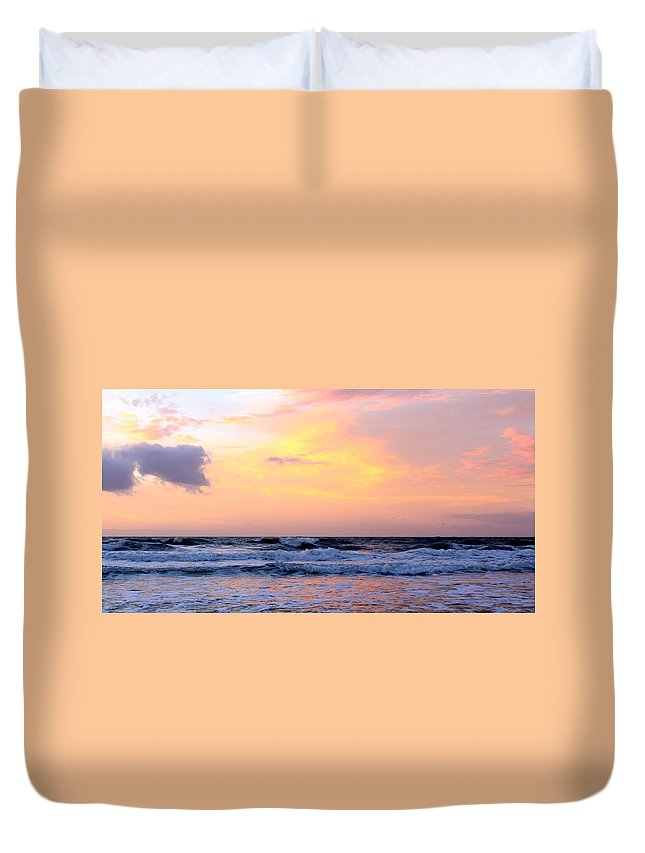 Topsail Duvet Cover featuring the photograph Topsail Island Pastel Sunrise by Rand Wall