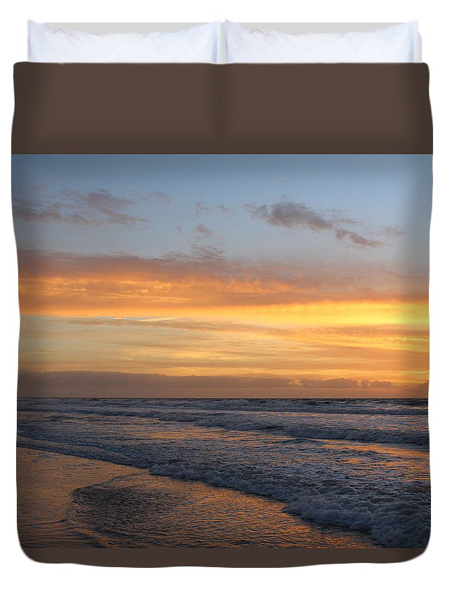 Duvet Cover featuring the photograph Topsail Island Sunup 2 by Rand Wall