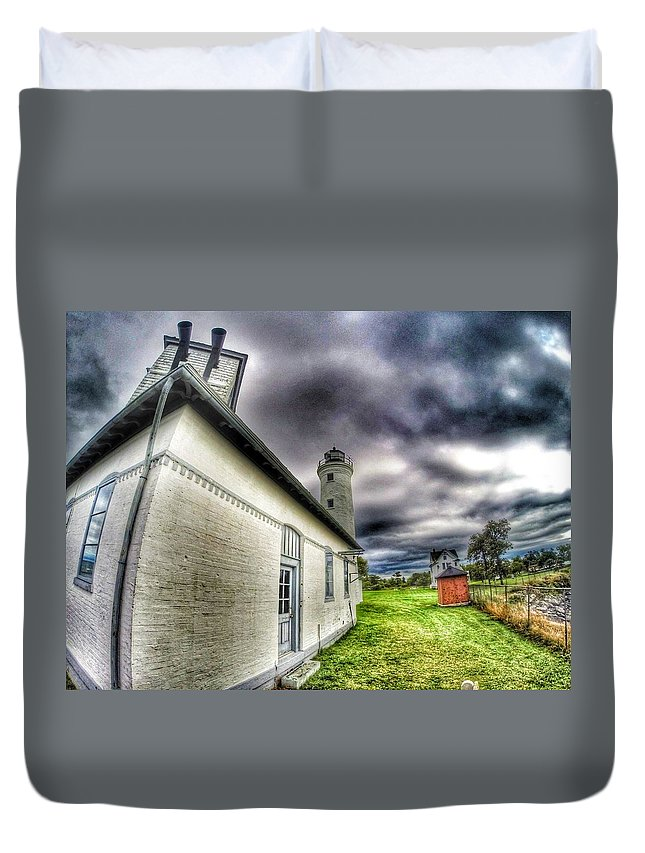 Lake Ontario Duvet Cover featuring the photograph Tibbits Point Lighthouse by Erik Kaplan