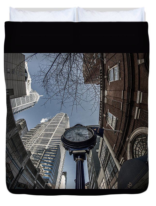 Fisheye Duvet Cover featuring the photograph Tick Tock by Kathleen Odenthal