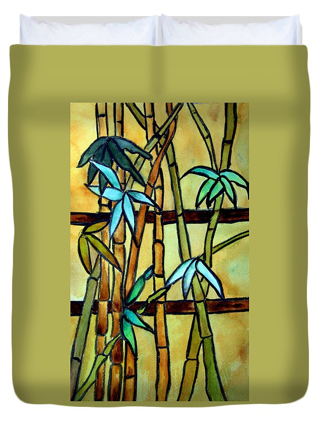 Tiffany Duvet Cover featuring the painting Stained Glass Tiffany Bamboo Panel by Donna Walsh