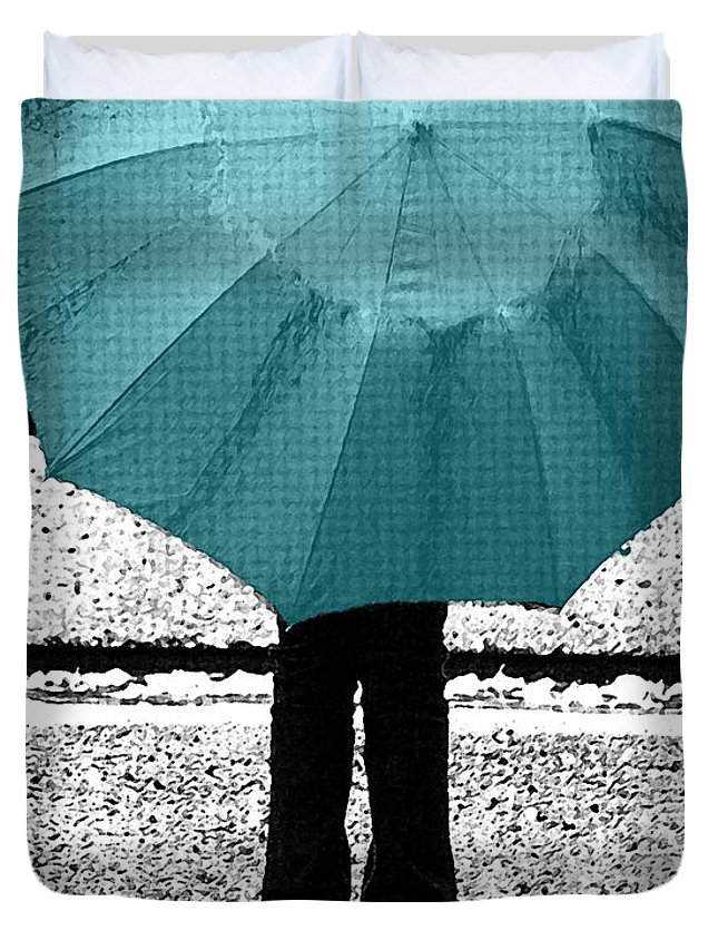 Tiffany Blue Duvet Cover featuring the photograph Tiffany Blue Umbrella by Lisa Knechtel