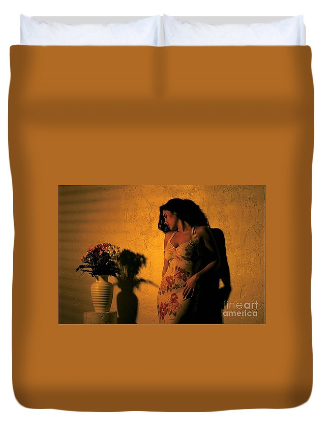 Model Duvet Cover featuring the photograph Tiffany Vase by Gary Gingrich Galleries