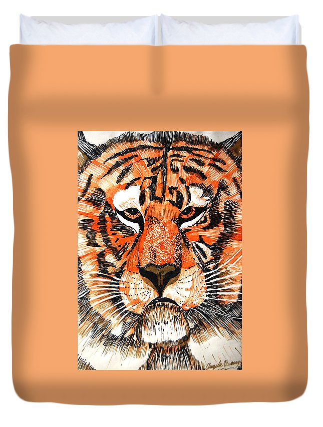 Tiger Duvet Cover featuring the photograph Tiger by Angela Murray
