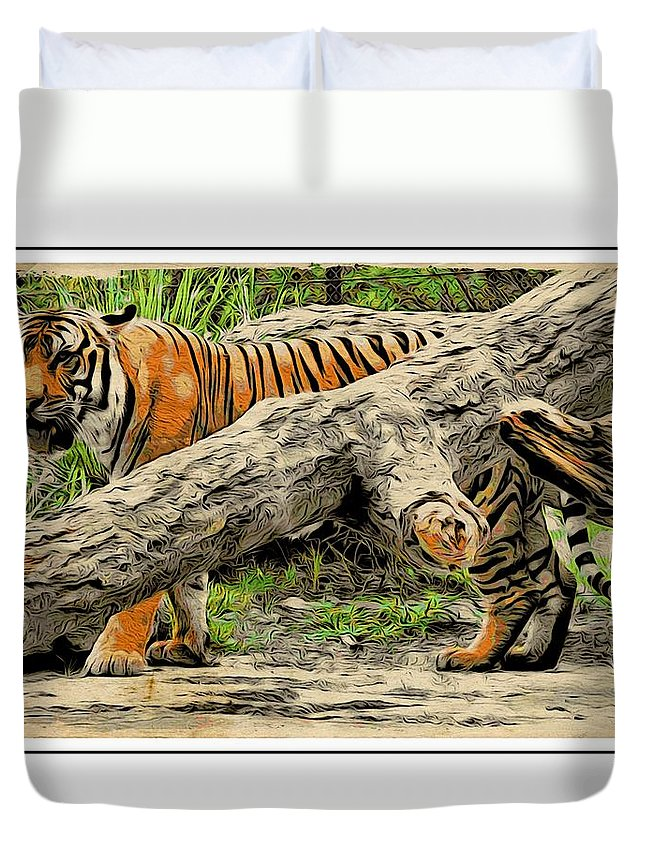 Tiger Duvet Cover featuring the photograph Tiger By The Log by Alice Gipson