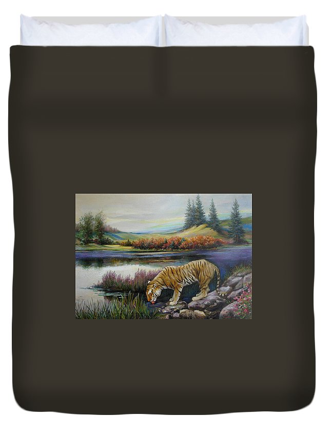 Siberian Tiger Duvet Cover featuring the painting Tiger by the river by Svitozar Nenyuk