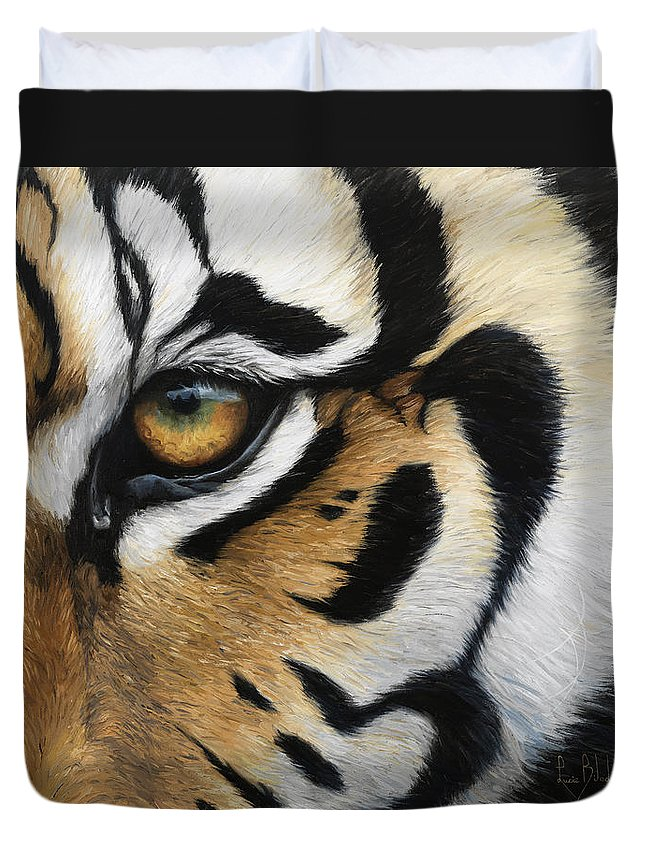 Tiger Duvet Cover featuring the painting Tiger Eye by Lucie Bilodeau