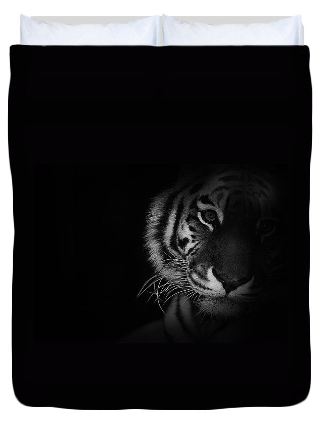 Tiger Duvet Cover featuring the photograph Tiger Eyes by Martin Newman