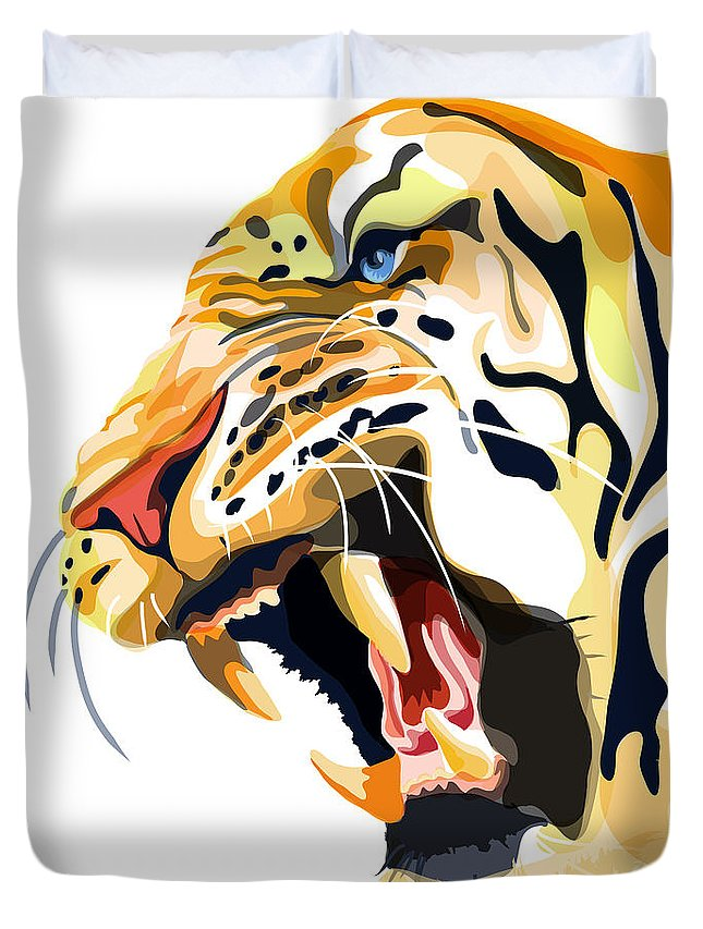 Tiger Illustration Duvet Cover featuring the painting Tiger Roar by Sassan Filsoof