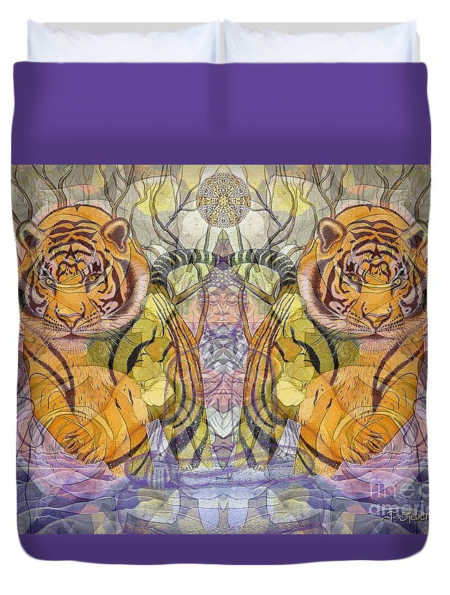 Tiger Spirits In The Garden Of The Buddha Duvet Cover featuring the painting Tiger Spirits In The Garden Of The Buddha by Joseph J Stevens