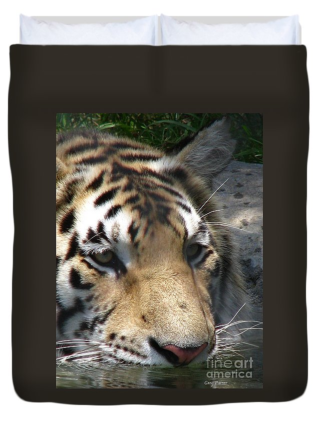 Patzer Duvet Cover featuring the photograph Tiger Water by Greg Patzer