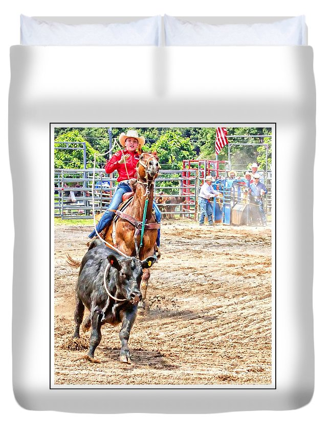 Calf Ropeing Duvet Cover featuring the photograph Tighten It Up by Alice Gipson