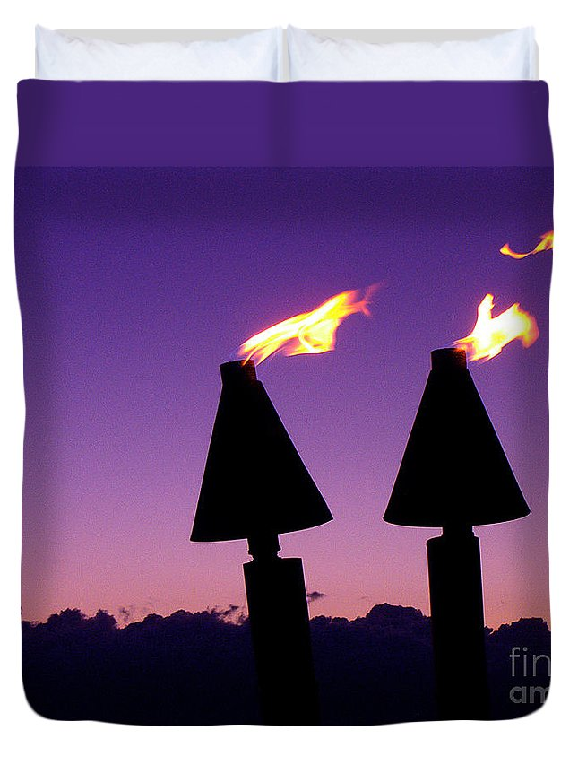 Tiki Duvet Cover featuring the photograph Tiki Torches by Jerome Stumphauzer