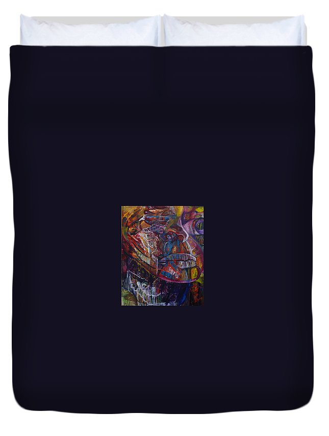 African Women Duvet Cover featuring the painting Tikor Woman by Peggy Blood