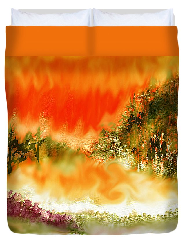 Timber Blaze Duvet Cover featuring the mixed media Timber Blaze by Seth Weaver