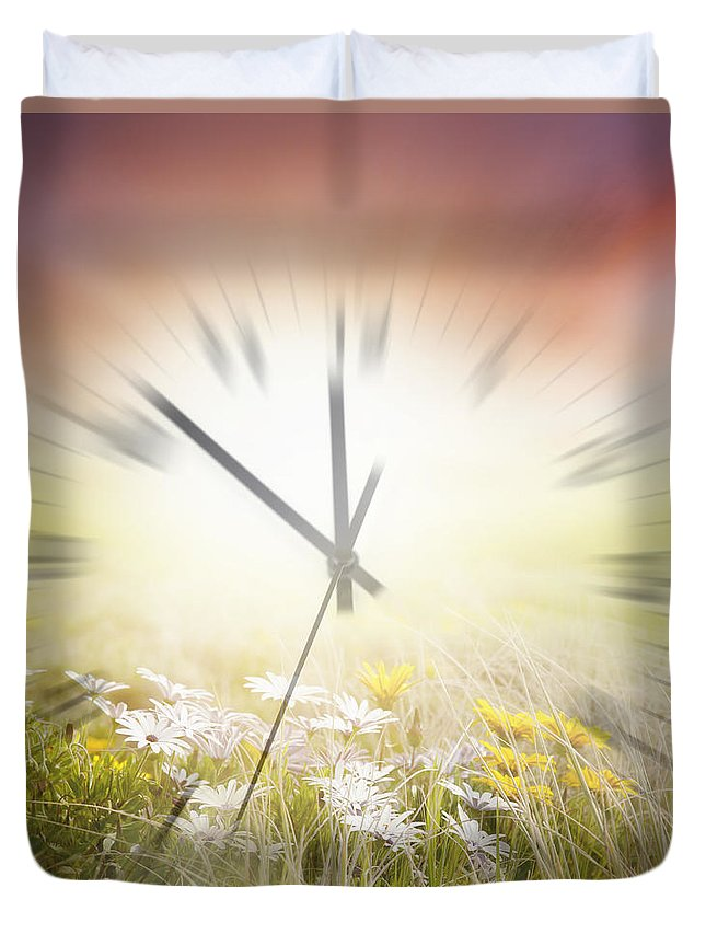 Spring Duvet Cover featuring the digital art Time Blurred by Les Cunliffe