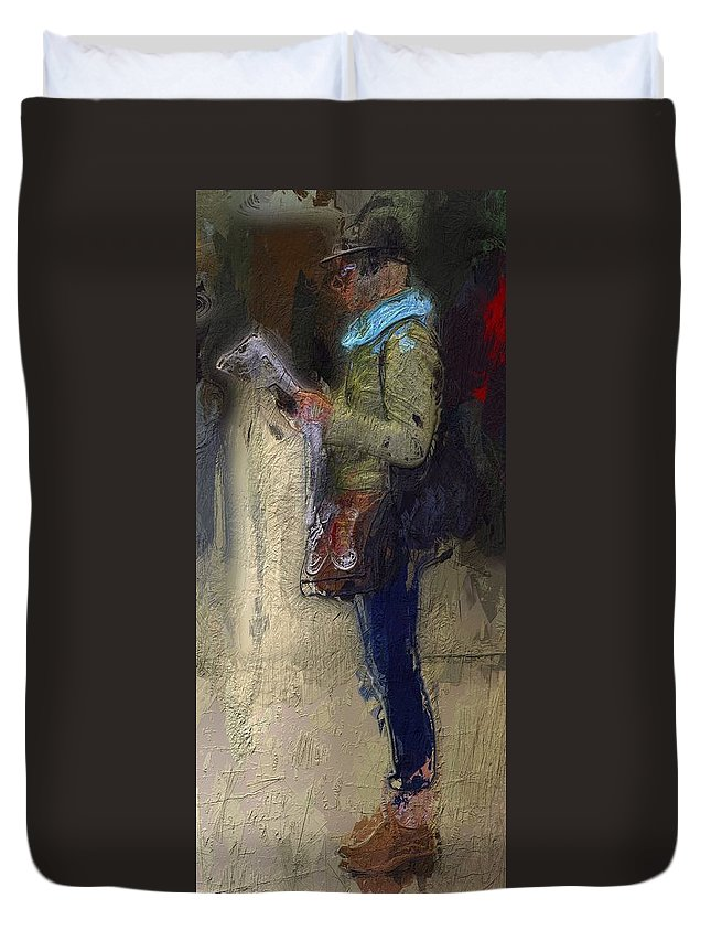 Girl Woman Female Newspaper Reading Break Waiting Portrait Urban Expressionism Duvet Cover featuring the painting Time For A Break by Steve K