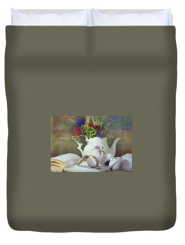 Still Life Duvet Cover featuring the photograph Time In A Pocket by Diana Angstadt