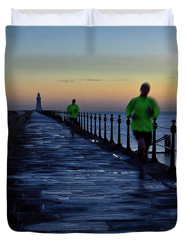 Tynemouth Duvet Cover featuring the photograph Time Lapse Runner by David Pringle