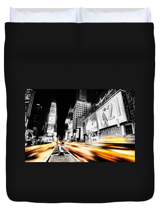 Times Duvet Cover featuring the photograph Time Lapse Square by Andrew Paranavitana