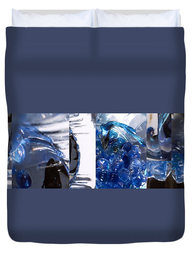 Abstract Duvet Cover featuring the photograph Time Line in Blue by Steve Karol