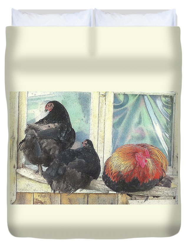 Happy Duvet Cover featuring the photograph Chicks Taking A Time Out by Hilde Widerberg
