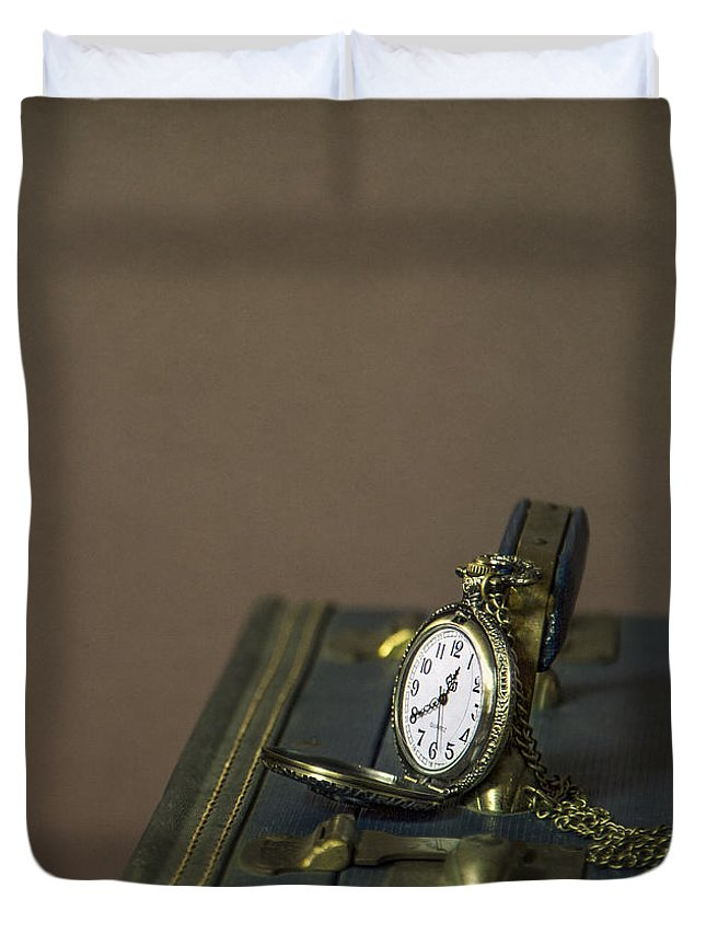 Clock Duvet Cover featuring the photograph Time To Go... by Evelina Kremsdorf