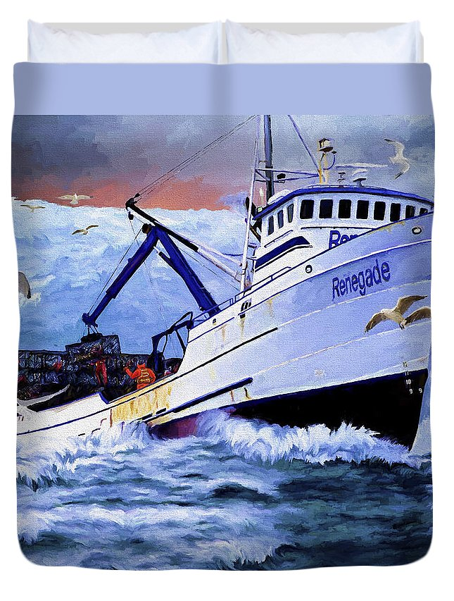 Alaskan King Crabber Duvet Cover featuring the painting Time To Go Home by David Wagner