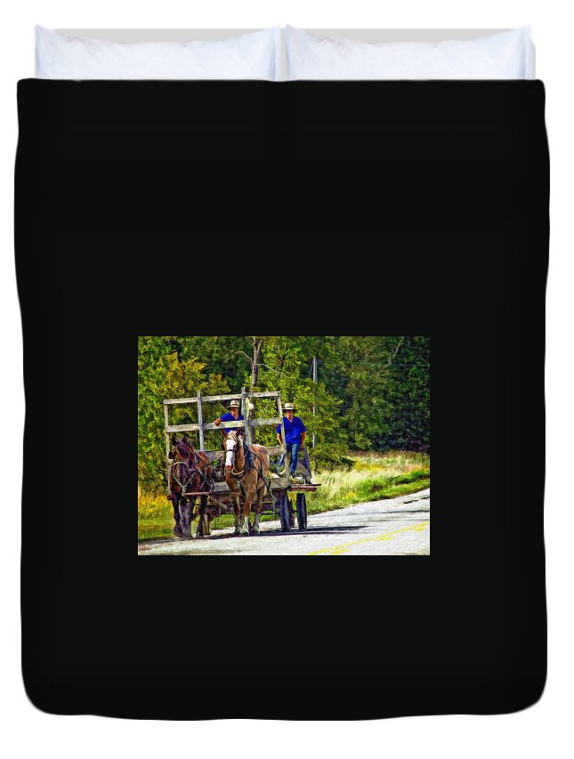 Amish Duvet Cover featuring the photograph Time Travelers Impasto by Steve Harrington