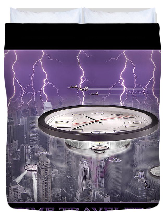 Cityscape Duvet Cover featuring the photograph Time Travelers by Mike McGlothlen