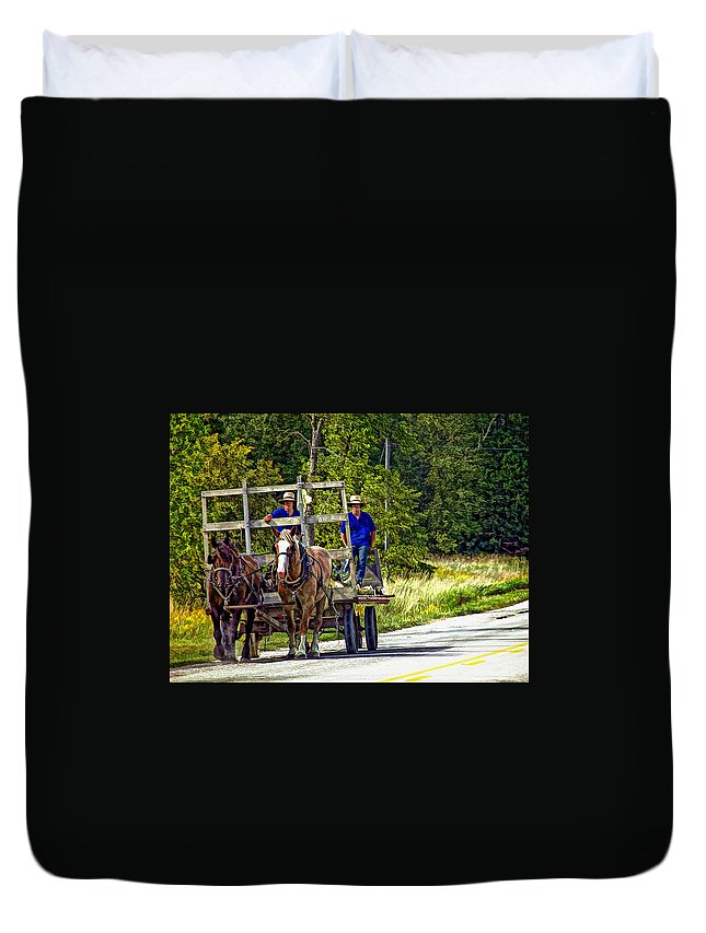 Amish Duvet Cover featuring the photograph Time Travelers by Steve Harrington