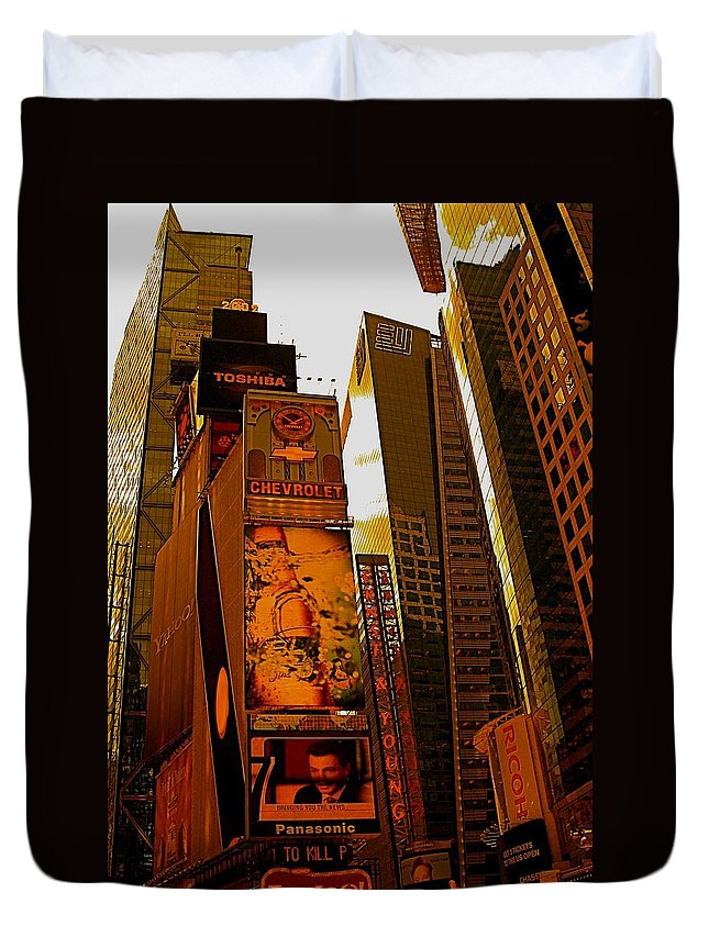 Manhattan Posters And Prints Duvet Cover featuring the photograph Times Square In Manhattan by Monique Wegmueller