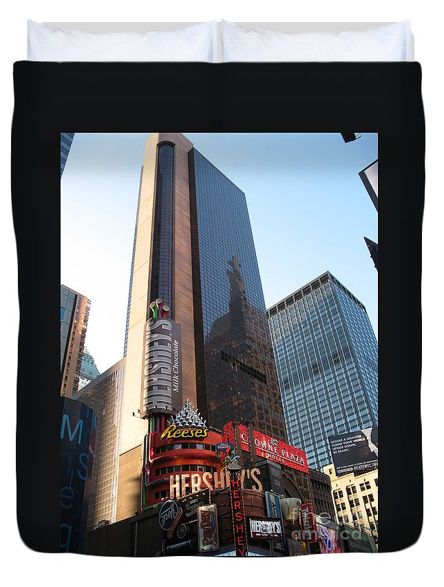 Times Square Duvet Cover featuring the photograph Times Square - New York City by Christiane Schulze Art And Photography