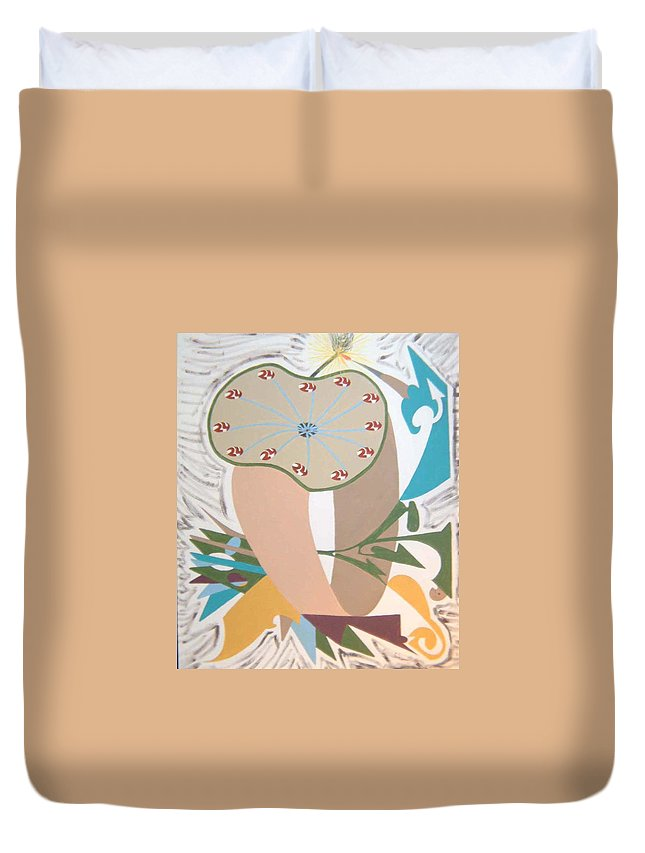 Abstract Duvet Cover featuring the painting Times Up by Dean Stephens