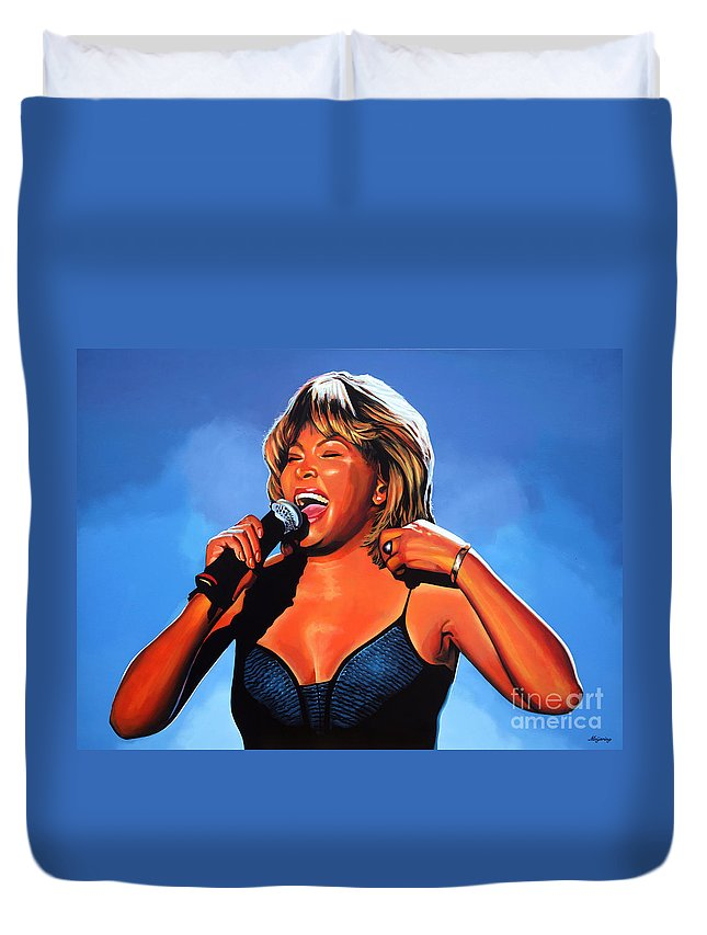 Tina Turner Duvet Cover featuring the painting Tina Turner Queen of Rock by Paul Meijering