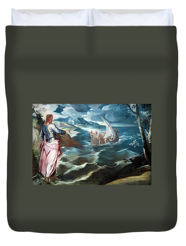Christ At The Sea Of Galilee Duvet Cover featuring the photograph Tintoretto's Christ At The Sea Of Galilee by Cora Wandel