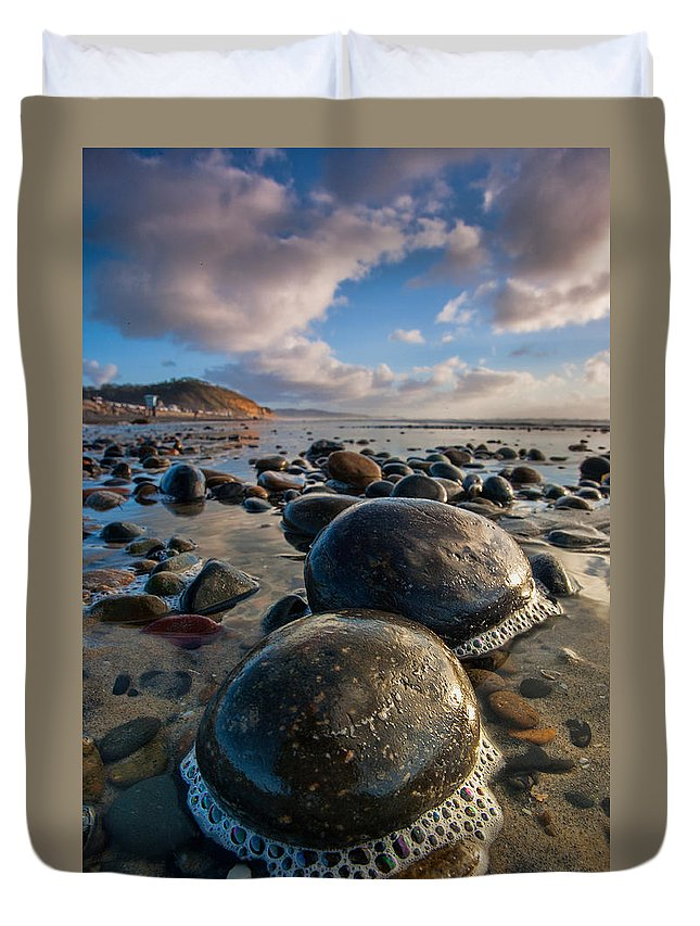 Beach Duvet Cover featuring the photograph Tiny Giants by Peter Tellone