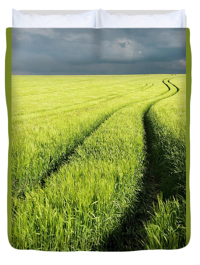 Scenics Duvet Cover featuring the photograph Tire Tracks In Grain Field by Thomas Winz