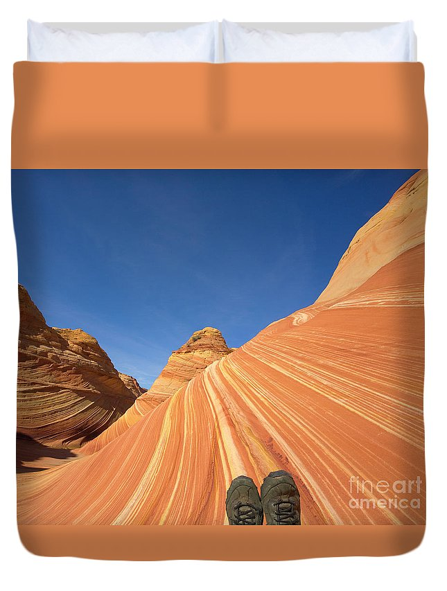 00345465 Duvet Cover featuring the photograph Tired Hiker Paria Wilderness Arizona by Yva Momatiuk John Eastcott