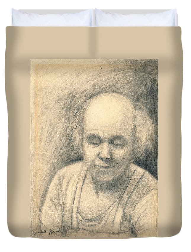 Man Duvet Cover featuring the drawing Tired by Kendall Kessler