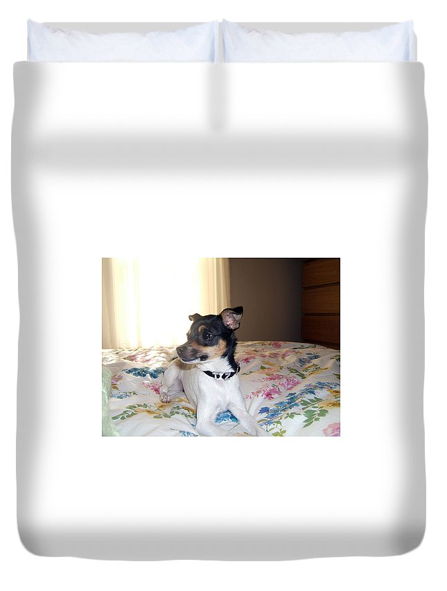 Dog Duvet Cover featuring the photograph 'tis Herself by Barbara McDevitt