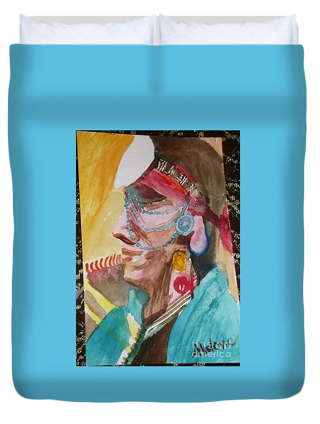 Tsihlcotin Nation Duvet Cover featuring the painting Water Healing Ceremonial Chief Yaz by Abelone Petersen