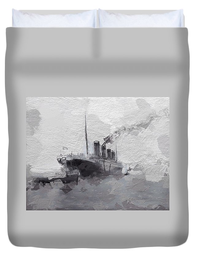 Titanic 1912 Leaving Southhampton Rms Ocean Atlantic Sinking Ship Boat Last New York England Expressionism Duvet Cover featuring the painting Titanic Leaving Southhampton by Steve K