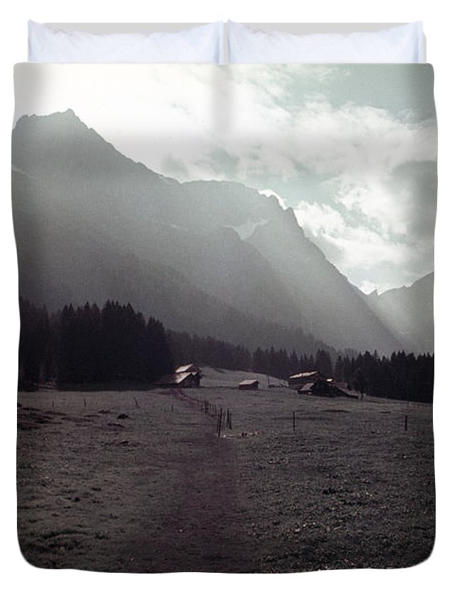 Titlis Duvet Cover featuring the photograph Titlis Fields And Farm by David Hohmann